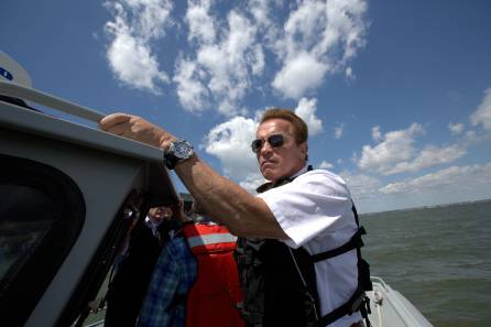 NORFOLK, VA.- Arnold Schwarzenegger visits an American naval base threatened by sea level rise. (Photo credit: National Geographic Channels/Hyunsoo Leo Kim)