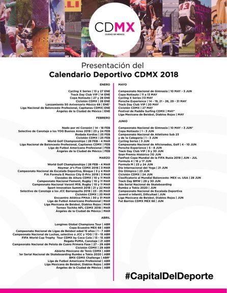 Calendario 2018 INDEPORTE