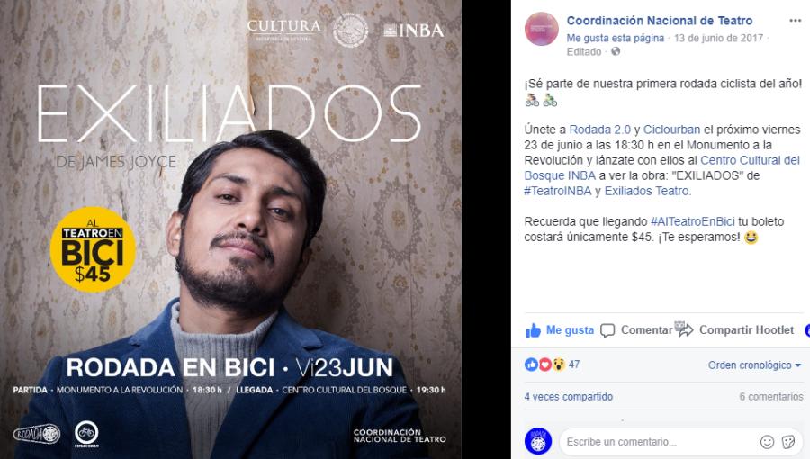 Al Teatro En Bici de la Coordinación Nacional de Teatro del INBA (junio2017)